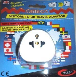 OMEGA VISITOR TO UK TRAVEL ADAPTOR  Universal Multi Plug to 3 Pin