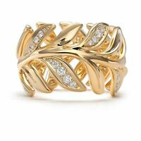14K Gold Filled White Sapphire Leaf Ring Fashion Wedding Men's Jewelry Rings