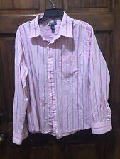 Duck Head pink Green Blue striped shirt Mens XL Long Sleeve