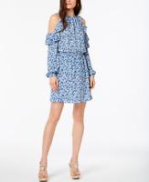 MICHAEL Michael Kors Printed Cold-Shoulder Dress Size Large