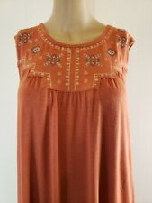 Max Jeans Women's Top Blouse Size Large Coral Embroidered