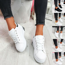 WOMENS LADIES LACE UP WEDGE PARTY TRAINERS WOMEN CASUAL FASHION SNEAKERS SHOES