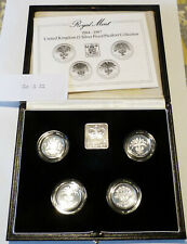 1984-1987 UK One Pound £1 Silver Proof Piedfort Set.    Mintage 15,000 (20.3.32)