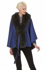 Guy Laroche Design Real Fox Fur Trim Cashmere Cape - Mercury Grey Royal Blue