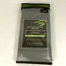 Eucalyptus Origins 100% Tencel Lyocell 400 TC King Pillowcases Gray Set 2