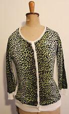 VERONIKA MAINE  ~ Black Yellow White Leopard Cheetah Print Cardigan M ( 10 12 )