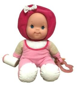 Baby First Goldberger Doll Rattle Pink Hat Drink Bottle Soft Plush Stuffed Toy