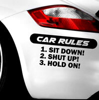 Black Auto CAR RULES Decal Slammed Car Truck Vinyl JDM Racing Windshield Sticker