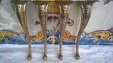 VINTAGE SET OF 4 BRASS ORNATE TABLE LEGS HARDWARE FURNITURE