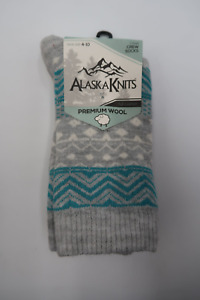 ALASKA KNITS WOOL BLEND STITCH FAIR ISLE CREW BOOT SOCKS 9-11 GREY/TEAL 21-6