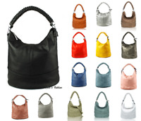 Womens Soft Leather Detachable Braided Handle Tote Bucket Handbag Shoulder Bag