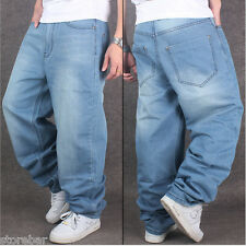 New Mens Hip Hop Pants Dance Denim Trousers Casual Baggy Loose Long Jeans Cool