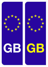 2 LEGAL EUROPEAN GB NUMBER PLATE VINYL DECALS STICKERS FREE DELIVERY