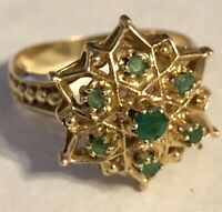 Vintage Estate 14K Yellow Gold And Emerald And Star Signed TIARA  Ring Size 9.25