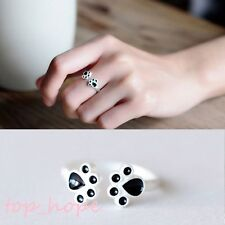 Stylish Women Silver Plated Cat Claw Open Ring Animal Finger Ring Jewelry Gift