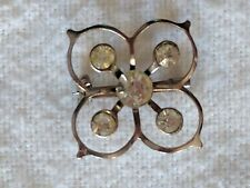 Vintage Costume Jewelry Clover Shaped Silver and Rhinestone Pin
