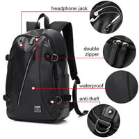 Men PU Leather Backpack Business Travel School Laptop Notebook Bag Book Rucksack