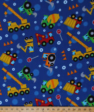 Construction Vehicles Dump Trucks Cranes Bulldozers Flannel Fabric Bty D279.31