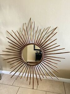 Pier One Metal Sunburst Sun Rays Mirror Wall Sculpture Celestial Art Style Decor
