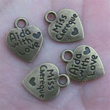 30pc 2-Sided Love heart Pendant Charms Beads Accessories Antique Bronze B480P