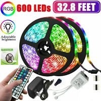 32.8Ft 10M SMD 5050 600 Led Strip Light RGB Remote Control Kit with Power Supply