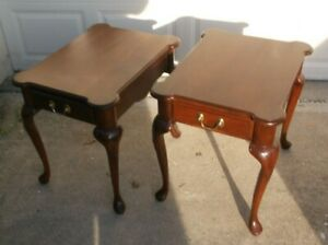 Pair Harden Cherry One Drawer End Table
