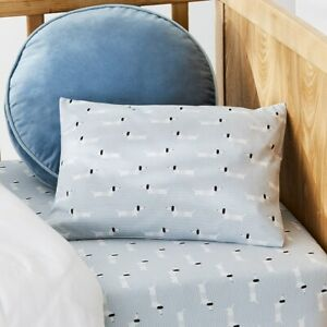 ADAIRS BABY Sausage Dog Cotton Bamboo COT Quilt Cover Set - Pastel Blue, Stripes