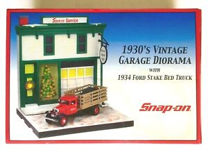 Snap-on 1930's Vintage Garage Diorama With 1934 Ford Stake Bed Truck