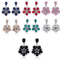 Trendy Women Elegant Crystal Rhinestone Earrings Dangle Ear Stud Ladies Jewelry