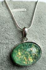 Collier pendentif couleur argent cabochon chaîne argent 925 bijou vintage 5065