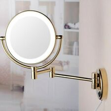 LA JEFA 5X Magnification Bathroom Golden Cosmetic Mirror with LED Lighted