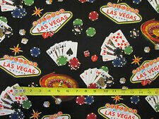 LAS VEGAS CASINO POKER CARDS GAMING CARDS COTTON FABRIC FQ