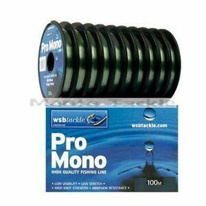 NEW Wsb Green Fishing Line 100m 3lb 4lb 5lb 6lb 9lb 12lb Mono Coarse Pole Feeder