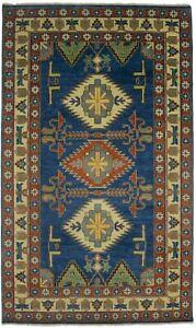 Blue Geometric Tribal Extra Fine 5X8 Kazak Oriental Rug Oriental Home Carpet