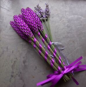 Lavender Filled Wands 5 Medium Purple Satin Ribbon Home Decor Gifts or Wreaths