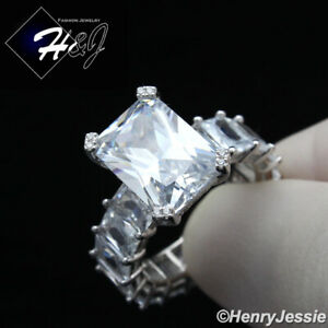 925 STERLING SILVER ICY FULL DIAMOND CLEAR/PINK RECTANGLE WEDDING RING*SPR162