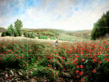 24 x 18 Landscape Field of Poppies Tile Mural Kitchen Wall Backsplash Ceramic
