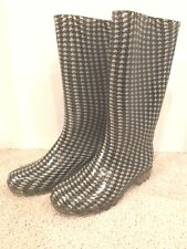 Rubber Rain Boots womens size 8 Houndstooth Plaid Check Print  unbranded