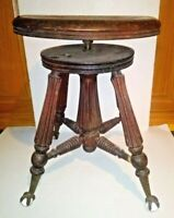 Antique Piano Stool TONK Chicago NYC Solid Wood Spin Iron Brass Claw Foot Seat
