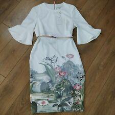 TED BAKER AZANIA WONDERLAND BELL SLEAVE BODYCON  DRESS SIZE 4/ UK 14/US10