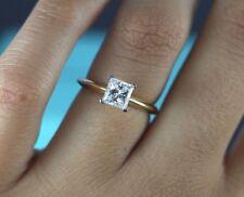 Tiffany Co 18K Yellow Gold Platinum Princess Cut Diamond Engagement Ring