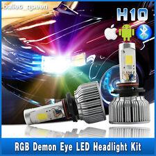 H10 9145 9140 60W COB LED Headlight Fog Lights Kit w/ RGB Demon Eyes APP Control