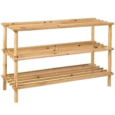 3 Tier Slated Shoe Rack Natural Wooden Storage Stand Organiser By Home Discount
