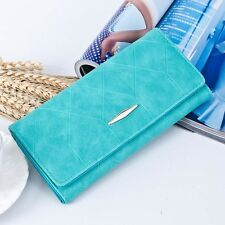 Women Purse Solid Hasp Coin Bag Long Card Holder Handbag Bifold Clutch Wallet AC
