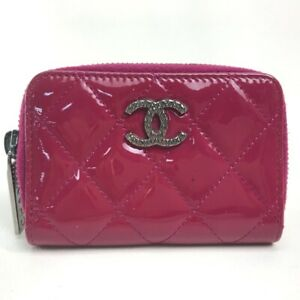CHANEL A68945 CC Mark Brilliant Matelasse Wallet coin purse Patent Leather pink