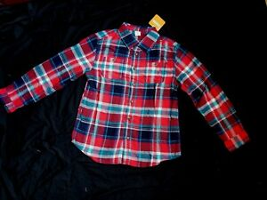 Red & Blue, White Gymboree Boys Flannel Looking Button-Up Shirt , Size L 10-12