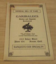 """RARE 1920's 'Bill of Fare' MENU to """"GARIBALDI'S Restaurant"""" Fresno CALIFORNIA"""