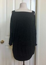 CHICO'S *NEW SIZE 3(XL) BLACK STUDDED COLD SHOULDER OPEN 3/4 SLEEVES LOOSE TOP