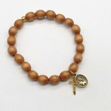 VINTAGE  LADIES BRACELET BANGLE WOODEN BEAD MOSS AGATE JESUS CROSS CHARM