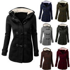 b8a2ab0cc4c Women s Hooded Pea Coat Jackets Overcoat Thicken Slim Fitted Outerwear Plus  Size